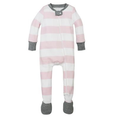Burt's Bees Baby® Size 3-6M Rugby Stripe Organic Cotton Footed Pajama in Pink