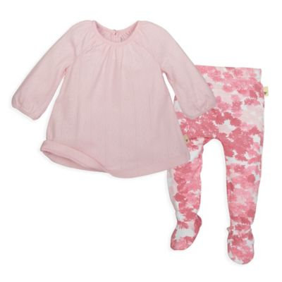 Burt's Bees Baby® Size 9M 2-Piece Organic Cotton Pointelle Dress and Footed Pant Set in Pink