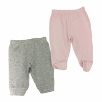 Sterling Baby Size 9M 2-Pack Open/Footed Pant in Grey/Pink