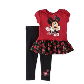 Minnie Mouse Baby Toddler Girl Short Sleeve Layered Top & Legging 2pc Outfit Set