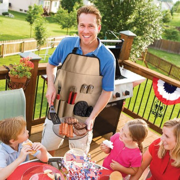 Trademark Global Games Chefs Outdoor 7-Piece BBQ Apron and Utensil Set