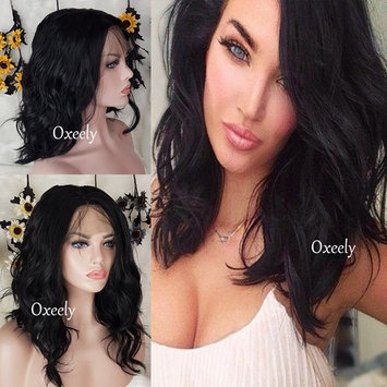 Oxeely LOB Hair Wigs Black Synthetic Lace Front Wigs Short Wavy Bob Hair Heat Resistant Synthetic Lace Front Wigs For Black Women