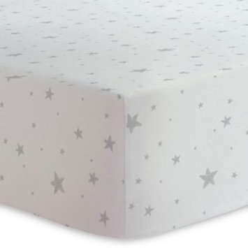 Kushies® Scribble Stars Cotton Flannel Fitted Crib Sheet in Grey/White