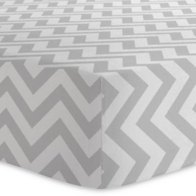 Kushies® Chevron Cotton Flannel Fitted Crib Sheet in Grey