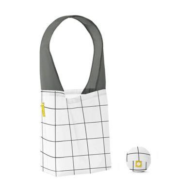 Flip & Tumble Flip Bag 24-7 Grid-Print Reusable Shopping Bag in White/Black