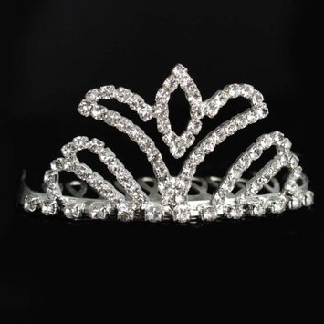 Flower Girl Tiara Crown Silver Swarvoski Rhinestone Elements With Comb