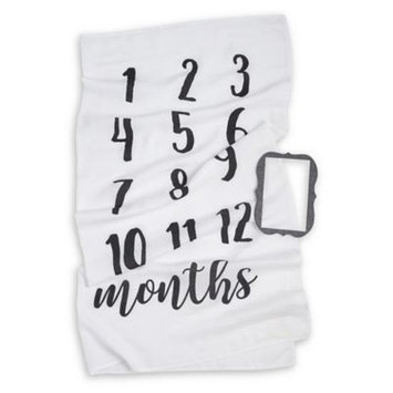 Mud Pie Monthly Milestone Blanket & Frame Set, Size One Size - White