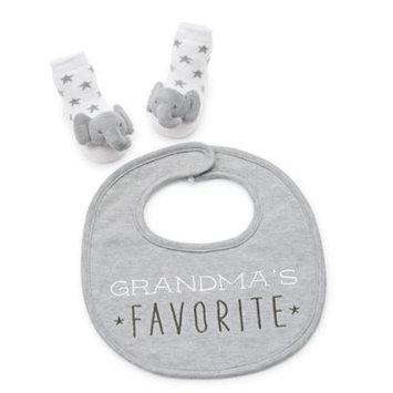 Infant Mud Pie Grandma's Favorite Bib & Socks Set, Size 0-12 M - Grey
