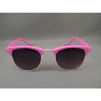 Pink half frame ombre lens clubmaster retro 80s style sunglasses