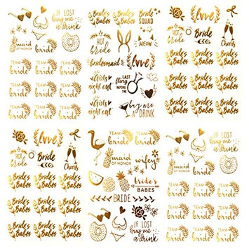 Tropical Bride Bachelorette Temporary Tattoos - Over 100 Team Bride Tribe Metallic Tattoos (6 Sheets) Gold Designs Bachelorettesy Emma Collection