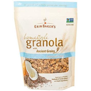 Erin Baker's Homestyle Granola, Coconut Chia, Gluten-Free, Ancient Grains, Vegan, Non-GMO, Cereal, 12-ounce bag [Coconut Chia]