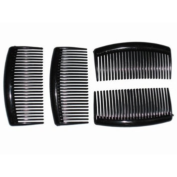 4 Pack 9cm Black Hair Side Combs Slides Grips by Glitz4Girlz