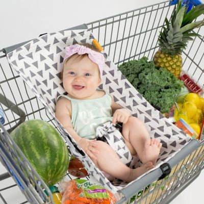 Baby Shopping Cart Hammock in White/Grey Triangles