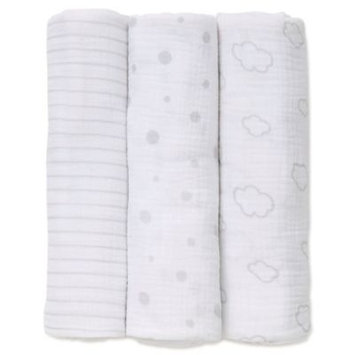 Little Me® 3-Pack Clouds Muslin Swaddle Blankets in Grey