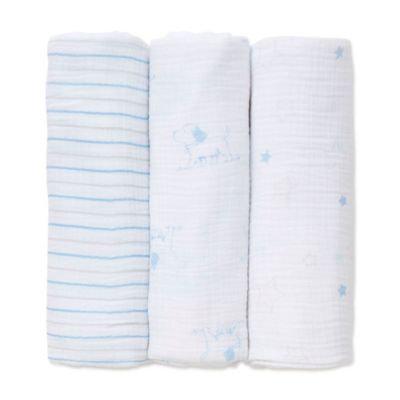 Little Me® 3-Pack Puppy/Star Muslin Swaddle Blankets in Blue