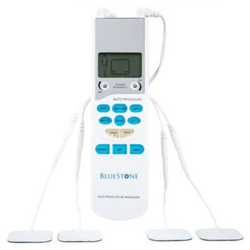 Trademark Global Games Bluestone TENS Unit Handheld Electronic Pulse Massager with 8 Pads