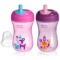 Chicco® NaturalFit® 2-Pack 9 oz. Straw Trainer Cup in Pink/Purple