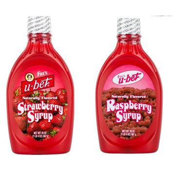 Fox's U-Bet Strawberry and Raspberry Syrup Bundle 20oz