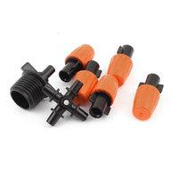 5 Pcs Adjustable Garden Water Sprayer Nozzle w 4 way Connector Pipe Connector