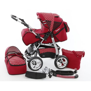 Chilly Kids iCaddy 2 in 1 Pram Combi Stroller & Pushchair (rain cover, mosquito net, beverage tray, changing mat, 49 colors) 27 Red & White Dots