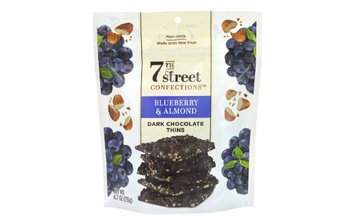 7th Street Confections Blueberry And Almond Dark Chocolate Thins, 4.7 Oz, Pack Of 3 Bags