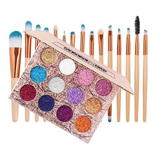 Dolity 12 Colors Pressed Glitter Eyeshadow Palette Shimmer Eye Shdow Powder +15Pcs Makeup Face Eye Shadow Eyeliner Foundation Blush Lip Liquid Cream Blending Brushes