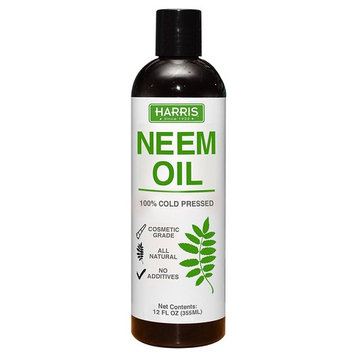 Harris Neem Oil, 100% Cold Pressed and Unrefined, Cosmetic Grade, 12oz
