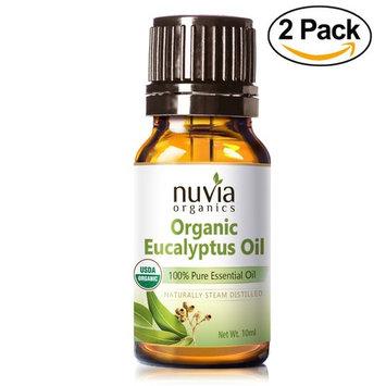 Nuvia Organics Eucalyptus Essential Oil - 2 Pack - USDA Certified Organic, 100% Pure