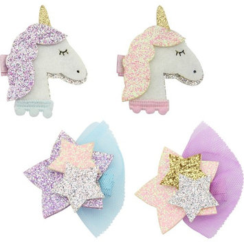 Nancyus005 Glitter Unicorn Hair Clips Shiny Star Clips Barrettes Hair Accessories for Baby Girls Toddler, 4 pcs