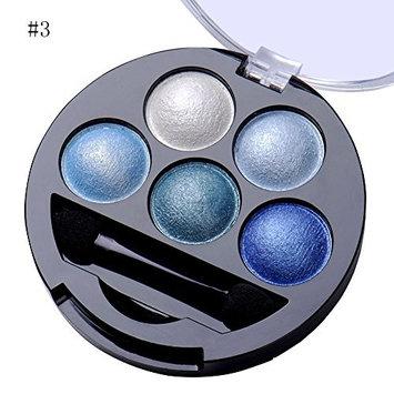 trent 5 Colors Make up Eyeshadow Shimmer Eye Highlight Palette & Cosmetic Brush Makeup Set (#3 Blue)
