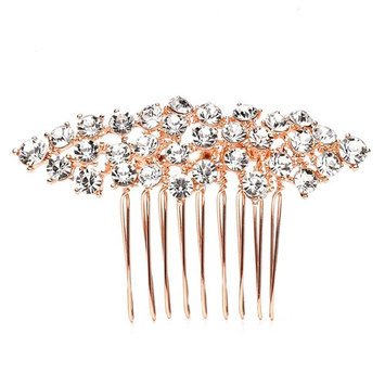 Mariell Sparkly Rose Gold Crystal Cluster Hair Comb for Bridal, Wedding or Prom