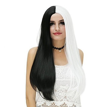 Amback Black and White Cosplay Wig for Women Long Straight Lolita Style Two Tone Wigs for Costume Party