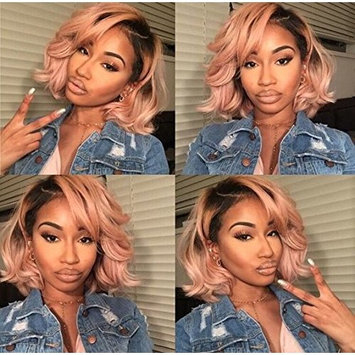 Human Hair Lace Frontal Wig Ombre Pink Color Short Body Wave Pre Plucked Virgin Human Hair Wigs (12