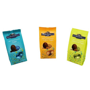 Easter Chocolate Candy - 1 Ghirardelli Milk Chocolate Toffee Egg - 1 Ghirardelli Milk Chocolate Almond Eggs - 1 Ghirardelli Milk Chocolate Eggs - Pack of three