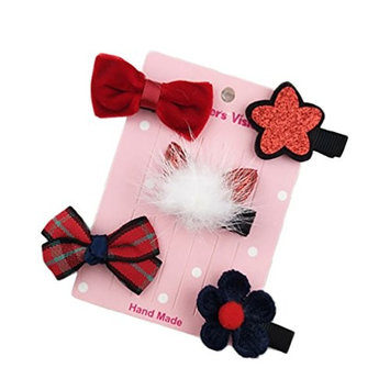 dds5391 5Pcs Lovely Baby Toddler Girl Bowknot Flower Star Ball Charm Hair Clips Hairpins