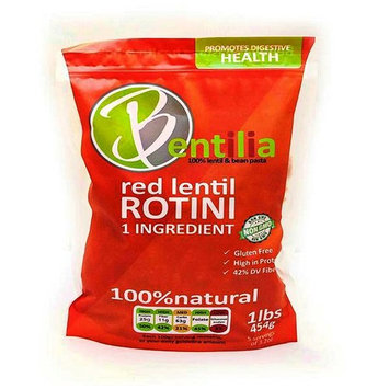 Bentilia Lentil Pasta, Red Lentil Rotini - 1 lb, Bag; 100% Natural, Low Glycemic Index, High Protein & Fiber, Non-GMO, Gluten Free Pasta