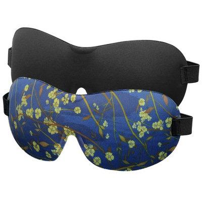 MoKo Eye Mask, [2 Pack] Contoured Sleep Mask for Women & Men, Soft Sleeping Eyeshade Blindfold with Adjustable Strap for Travel, Shift Work, Blocks Light - Black & Flower