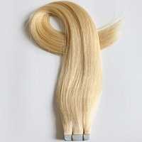 20 Inch Remy Tape In Hair Extensions Human Hair Double Drawn 20pcs 50g #613 Bleach Blonde []