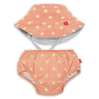 Lassig™ Size 18M 2-Piece Sun Swim Diaper and Reversible Hat Set in Orange