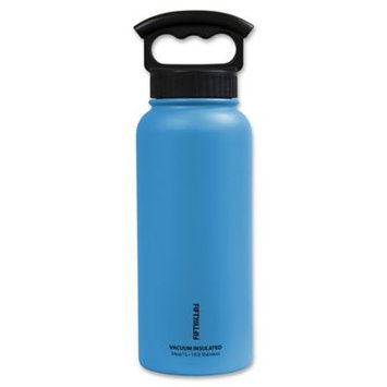 Icy Hot Hydration Icy-Hot Hydration V34001BL0 34 oz Crater Blue Vacuum Insulated Bottle - 3 Finger Grip Lid - Pack of 4