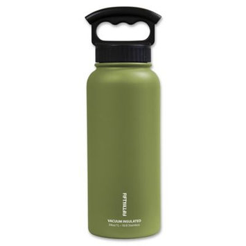 Icy Hot Hydration Icy-Hot Hydration V34001OL0 34 oz Olive Green Vacuum Insulated Bottle - 3 Finger Grip Lid - Pack of 4