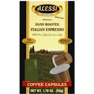 Alessi Hand Roasted Italian Espresso Coffee Capsules, 10 count, 1.76 oz (Pack of 12)