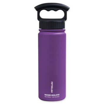 FIFTY/FIFTY Double-Wall Vacuum Insulated 18 oz. Water Bottle with Finger Grip Lid in Purple