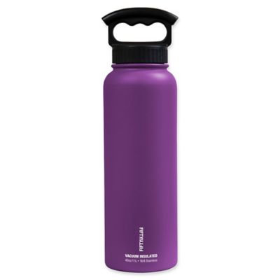 FIFTY/FIFTY Double-Wall Vacuum Insulated 40 oz. Water Bottle with Finger Grip Lid in Purple