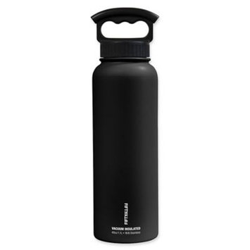 FIFTY/FIFTY Double-Wall Vacuum Insulated 40 oz. Water Bottle with Finger Grip Lid n Matte Black
