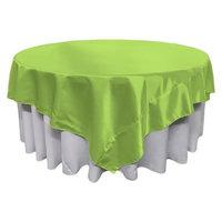 LA Linen TCbridal90x90-LimeB84 Bridal Satin Square Tablecloth Lime - 90 x 90 in.