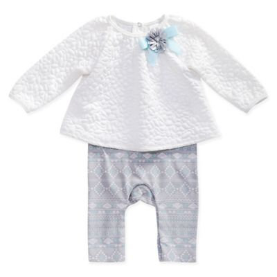 Sweet Heart Rose Size 6-9M Quilted Popover in Ivory/Turquoise