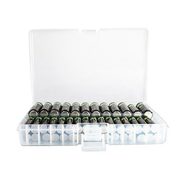 Foto&Tech Clear AA/AAA Plastic Battery Storage Case/Organizer/Holder (Holds 46 AA batteries or 64 AAA batteries)