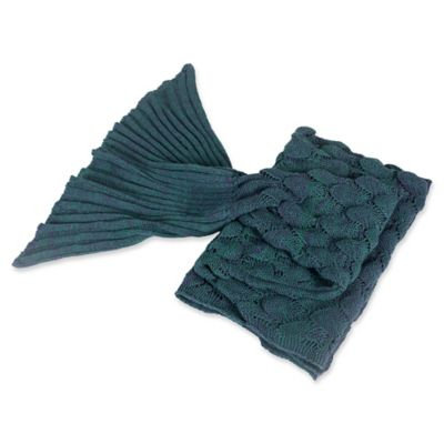Knit Mermaid Tail Throw in Teal