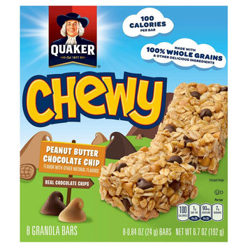 Quaker Oats Quaker Chewy Granola Bars, Peanut Butter Chocolate Chip - 8 count